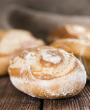 Some homemade Buns. (close-up shot) on rustic wooden background stock images