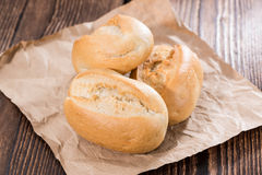 Some homemade Buns. Fresh homemade Buns on vintage dark background (close-up shot stock image