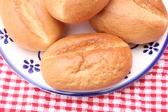 Buns of wheat flour. Some homemade buns of wheat flour for breakfast royalty free stock photos