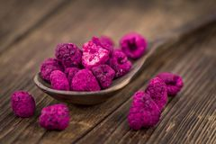 Portion of Raspberries dried, selective focus. Some homemade Raspberries dried as detailed close-up shot, selective focus royalty free stock images