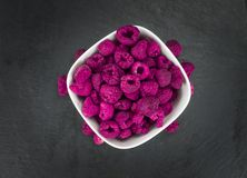 Portion of Raspberries dried, selective focus. Some homemade Raspberries dried as detailed close-up shot, selective focus royalty free stock photography