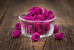 Portion of Raspberries dried, selective focus Royalty Free Stock Photos