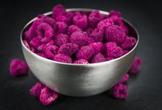 Portion of Raspberries dried, selective focus. Some homemade Raspberries dried as detailed close-up shot, selective focus stock image