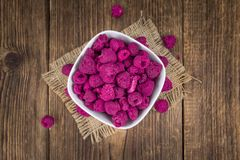 Portion of Raspberries dried, selective focus. Some homemade Raspberries dried as detailed close-up shot, selective focus royalty free stock image