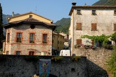 Some homes in Cison di Valmarino in the province of Treviso (Italy). Photo made in Cison di Valmarino, the exhibition dell'artigianto, in the province of Treviso royalty free stock image