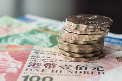Some Hong Kong dollars and coins. Close up royalty free stock image