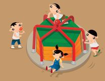 Some Hong Kong kids playing old-fashioned roundabout in playground. Cartoon illustration of some Hong Kong kids playing old-fashioned roundabout in playground stock illustration