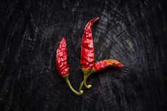 Some hot red peppers lie on a dark board Stock Photos