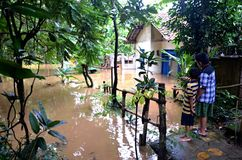 Flooded House in Jakarta stock image