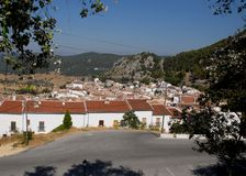 Some houses in El Bosque in Andalusia (Spain). Photo made in the vicinity of El Bosque in Andalusia (Spain). The photo, taken by a road outside the town, takes royalty free stock image