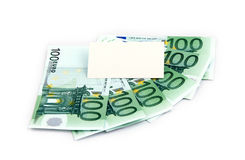 Some hundreds euro and white block. White square over some hundreds euro. just write on it stock photo