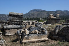 Some of the hundreds of tombs at Hierapolis at Pamukkale in Turkey. Royalty Free Stock Images
