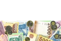 Some hungarian forint bank notes and coins. Llustrating growing economy and investment with copy space stock photo