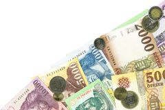 Some hungarian forint bank notes and coins. Llustrating growing economy and investment with copy space stock images