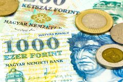Some hungarian forint bank notes and coins. Specimen royalty free stock photography