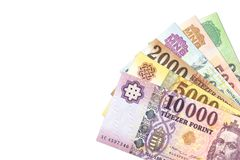 Some hungarian forint bank notes. With copy space royalty free stock photos