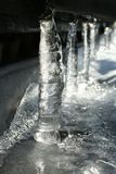 Icicles. Some icicles on a roof stock photos