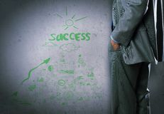 Some ideas for success. Bottom view of businessman and sketches of ideas on wall stock photos