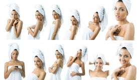 Some images of a young woman in towel. Beautiful woman with no make up smiling royalty free stock images