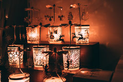 Some included christmas night lamps in the dark. Room. Close up photo Royalty Free Stock Photo