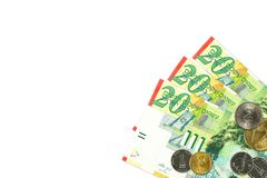 Some israeli new shekel bank notes and coins. With copy space royalty free stock images