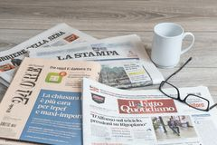 Some italian newspapers. A view of some italian newspapers on the table royalty free stock photo