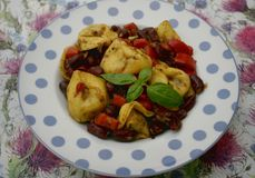 Italian tortellini with beans. Some italian tortellini with red beans and paprika Stock Photos