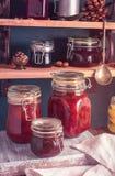 Homemade jam closeup. Some jars of homemade jam closeup shot royalty free stock photography
