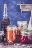 Some jars of homemade jam. On rustic table Stock Photography