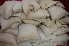 Some jute wheat bags stacked. Some wheat bags of jute stacked Royalty Free Stock Photos