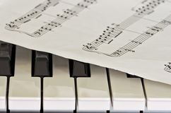 Some keys of piano with sheet music overlay Royalty Free Stock Photos