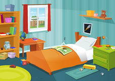 Some Kid Bedroom. Illustration of a cartoon children bedroom with boy or girl lifestyle elements, toys, bed, books, desk, bookshelf, teddy bear