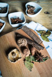 Some kinds of spice. Amomum tsao-ko,dried mushroom,pepper,anise and cinnamon on wood plank Stock Photos