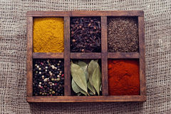 Some kinds spices in box. Some kinds spices in box Stock Photography