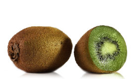 Some kiwi. Isolated on the white stock images
