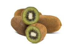 Some kiwis over a white background. Royalty Free Stock Images