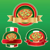 Some labels with pizza Royalty Free Stock Photography