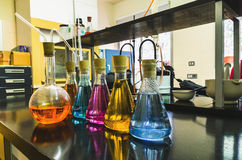 Some laboratory flasks. Some flasks in the chemical laboratory. Investigation and experiment concepts stock photography