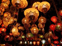 Decorative lamps in Istanbul bazaar. royalty free stock photography