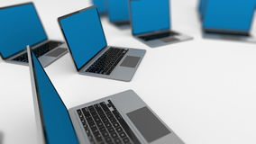 Some laptops departing into distance. stock illustration
