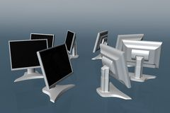 Some LCD monitors 01 Royalty Free Stock Photo