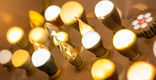 Some led lamps blue light science and technology background Royalty Free Stock Photos