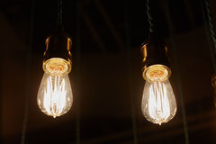 Some light bulbs on black. Background Stock Photography