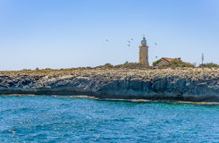 Some lighthouse on Cyprus island. Lighthouse Sea Island Cyprus Royalty Free Stock Image