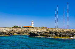 Some lighthouse on Cyprus island. Lighthouse Sea Island Cyprus Stock Photo