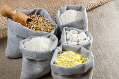 Some linen bags with spices Royalty Free Stock Photography