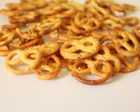 Some little pretzels on a plate Stock Images