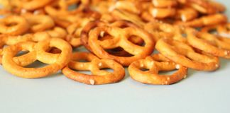 Some little pretzels on a plate. Some little, fresh pretzels on a plate Stock Images
