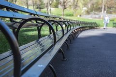 Through the Benches. Some loopy benches in Central Park, New York City. First days of spring Stock Photos