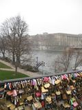 Some Love Locks hanging on the Post des Arts, Paris stock photography